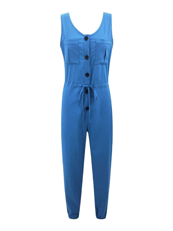 Plain Western Lace-Up Slim Jumpsuit