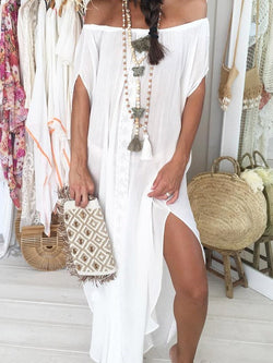 Split Off Shoulder Ankle-Length Off-The-Shoulder Casual Dress