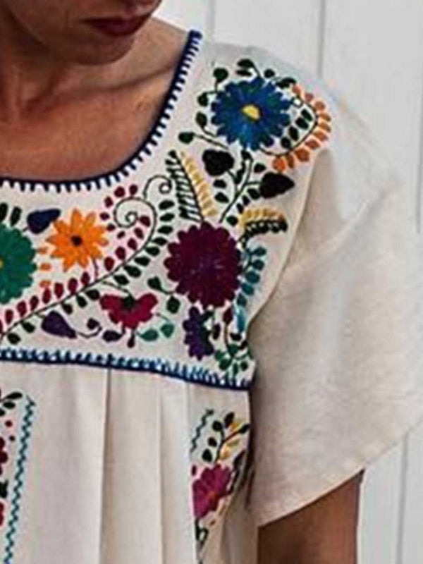 Square Neck Embroidery Short Sleeve A-Line Geometric Dress