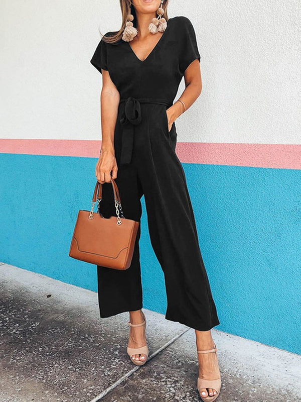 Ankle Length Belt Western Straight Loose Jumpsuit