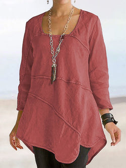 Mid-Length Three-Quarter Sleeve Plain Loose Casual T-Shirt