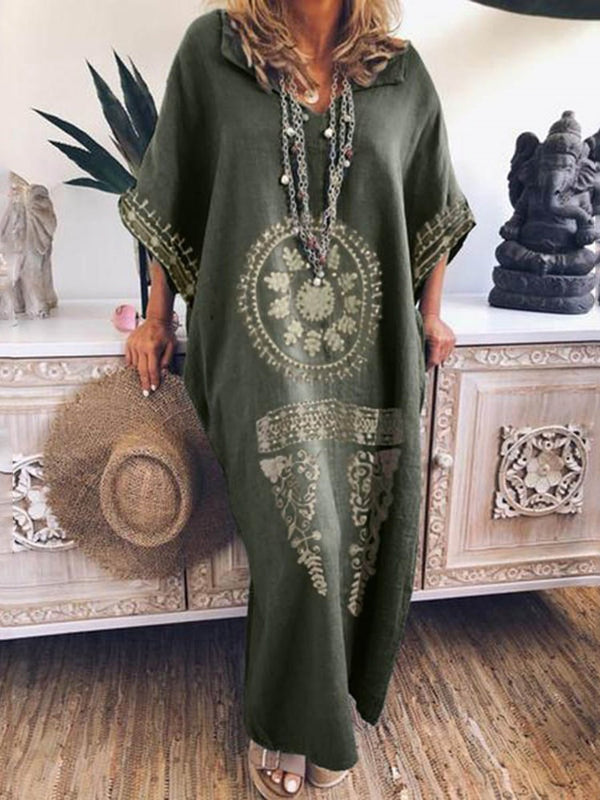 Three-Quarter Sleeve Floor-Length Print Casual Geometric Dress