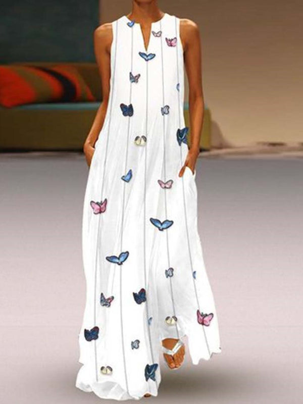 Print Floor-Length V-Neck Pullover Summer Dress