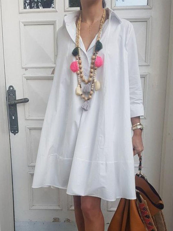 Above Knee Three-Quarter Sleeve Pullover Fashion Dress