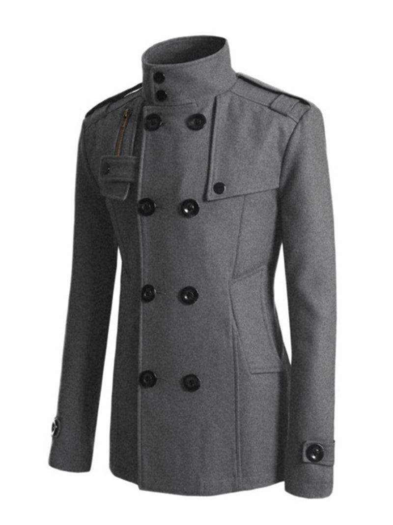 Lapel Plain Patchwork Fall Double-Breasted Coat