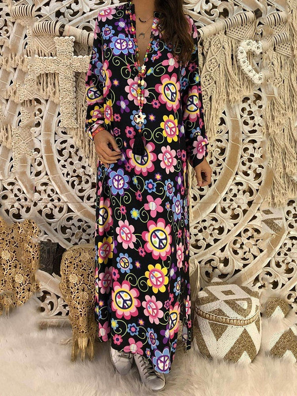 Long Sleeve V-Neck Print Travel Look Straight Dress