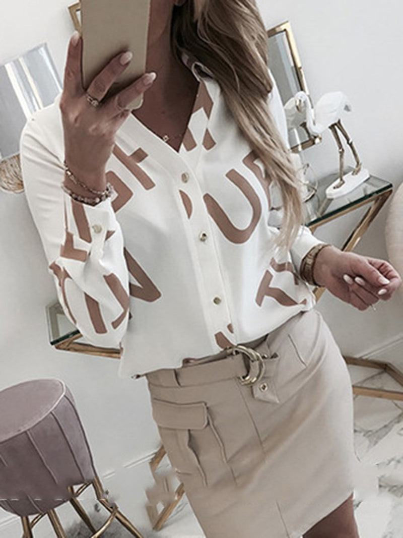 Letter Print Long Sleeve Mid-Length Blouse