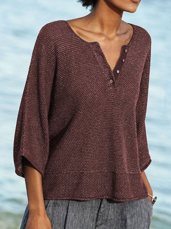 Button Loose Standard Sweater