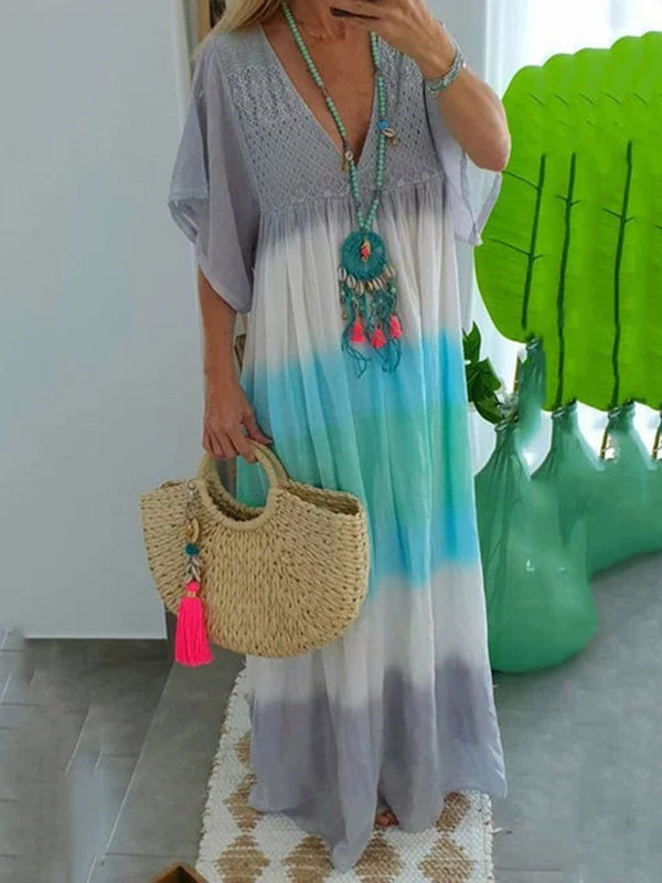 Floor-Length Half Sleeve Patchwork Pullover Casual Dress