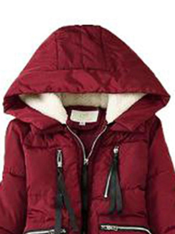 Thick A Line Zipper Mid-Length Cotton Padded Jacket