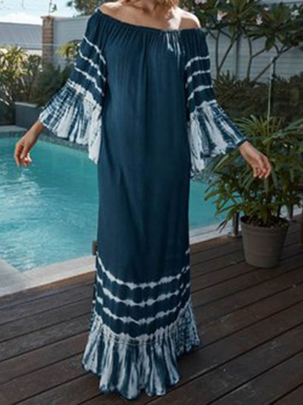 Floor-Length Nine Points Sleeve Patchwork Stripe Travel Look Dress