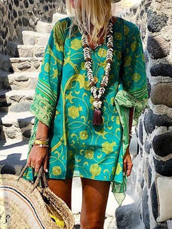 Print Above Knee Three-Quarter Sleeve A-Line Summer Dress