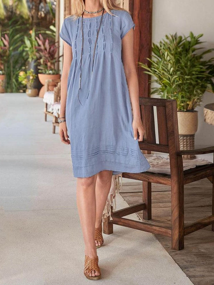 Round Neck Knee-Length Short Sleeve Pullover A-Line Dress
