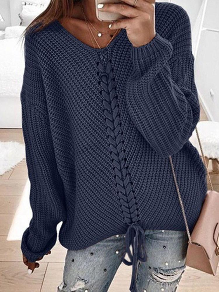 Regular Lace-Up Fall Long Sleeve Sweater