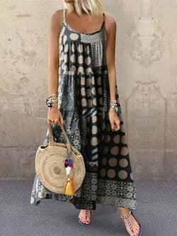 Print Sleeveless Mid-Calf Expansion Summer Dress