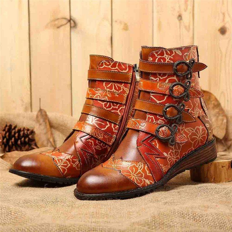 Patchwork Side Zipper Round Toe Casual Thread Boots