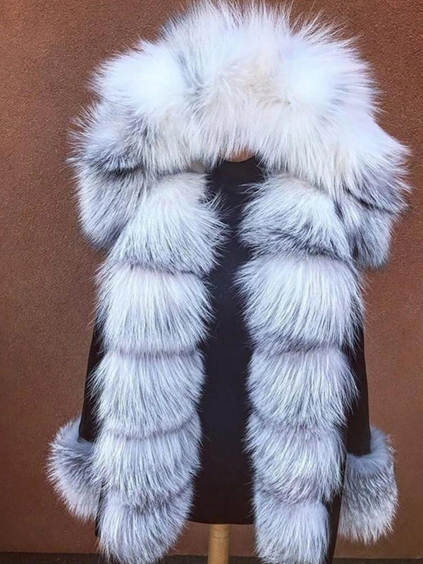 Mid-Length Regular Hooded Loose Thick Faux Fur Overcoat