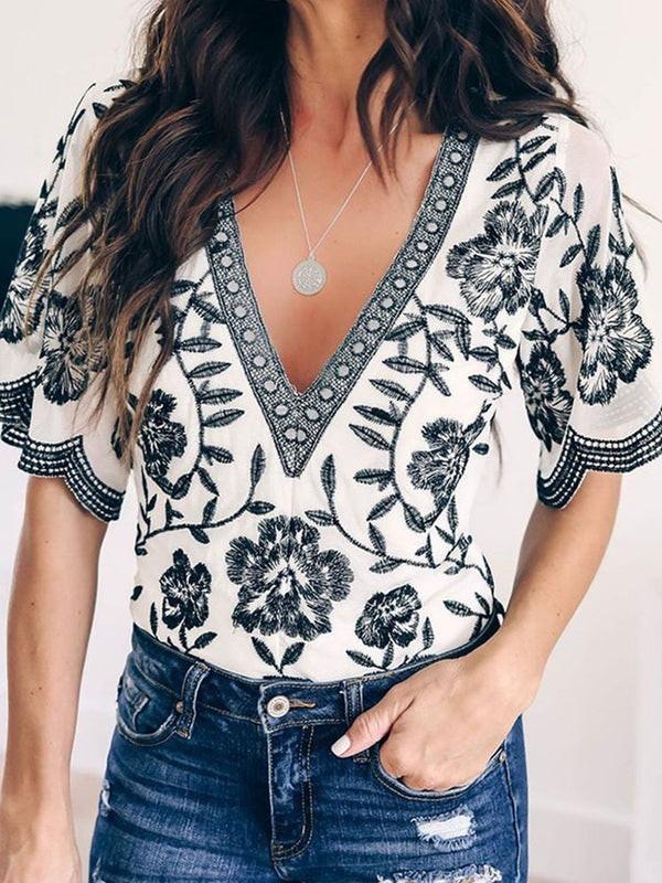 V-Neck Embroidery Flare Sleeve Half Sleeve Standard Blouse