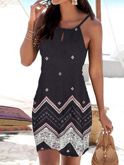 Sleeveless Print Above Knee A-Line Spaghetti Strap Dress