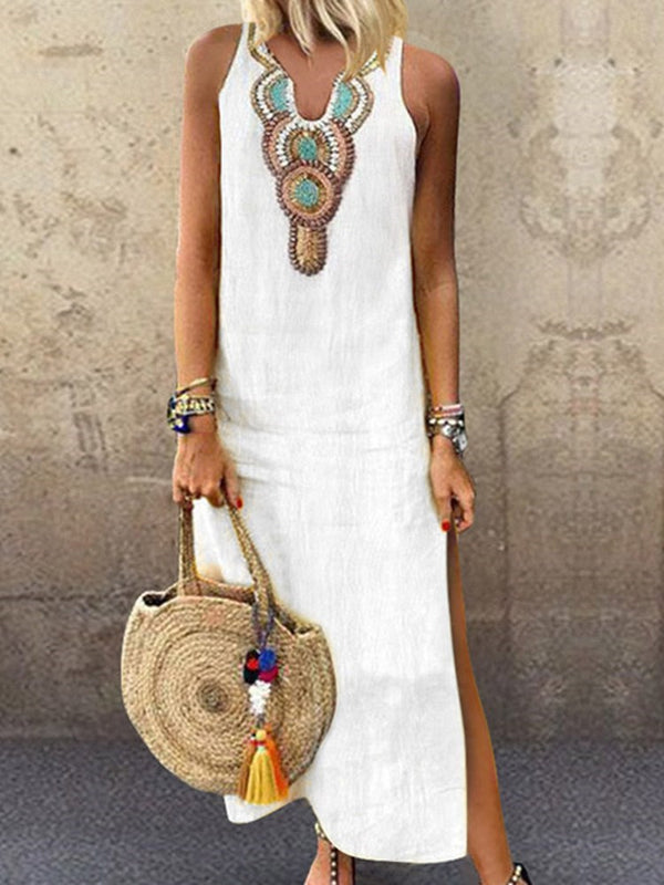 Sleeveless Ankle-Length Print Summer Pullover Dress