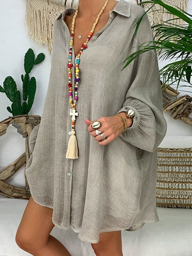 Plain Button Lantern Sleeve Mid-Length Long Sleeve Blouse