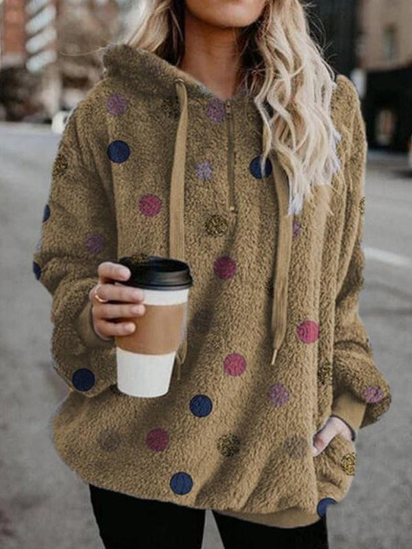 Zipper Polka Dots Mid-Length Long Sleeve Hoodie