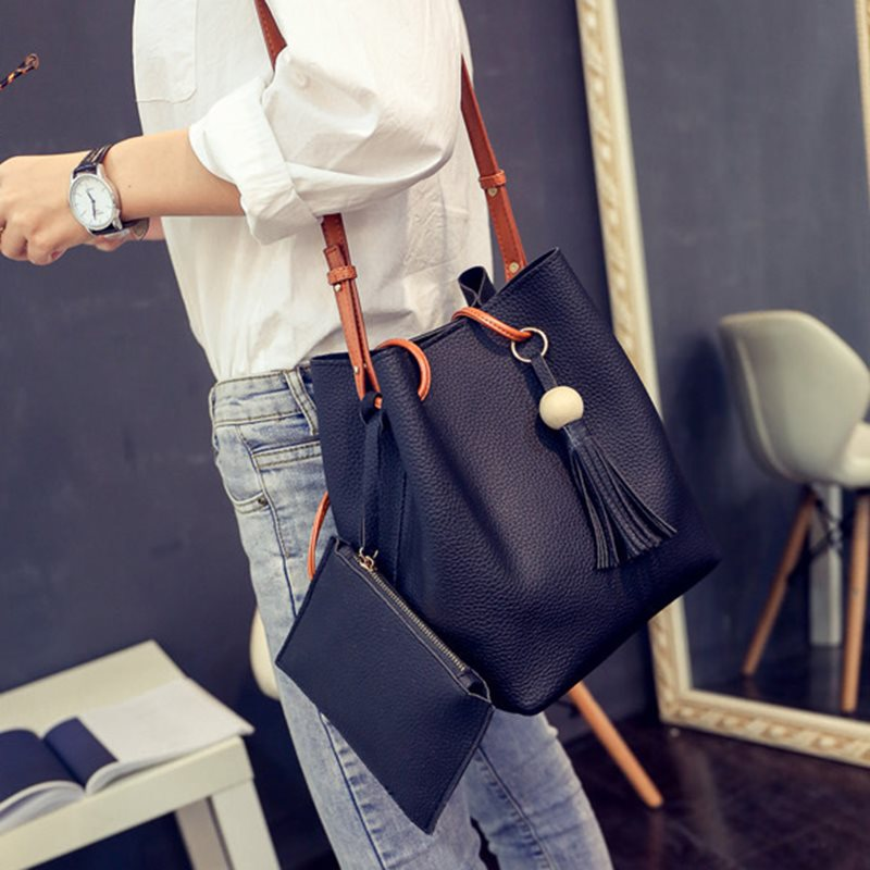 Korean PU Plain Thread Barrel-Shaped Tote Bags