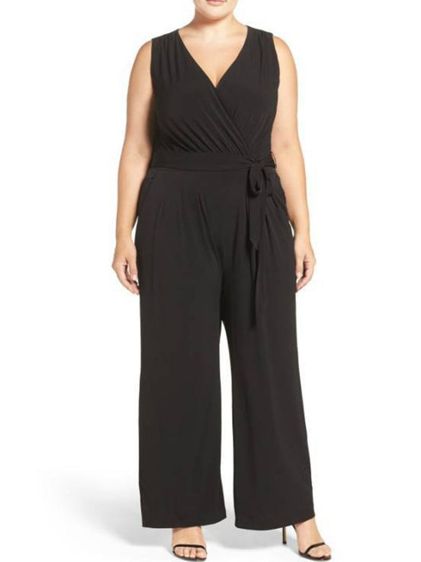 Plain Full Length Belt Loose Wide Legs Jumpsuit