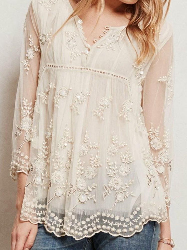 Embroidery Regular Standard Three-Quarter Sleeve Blouse