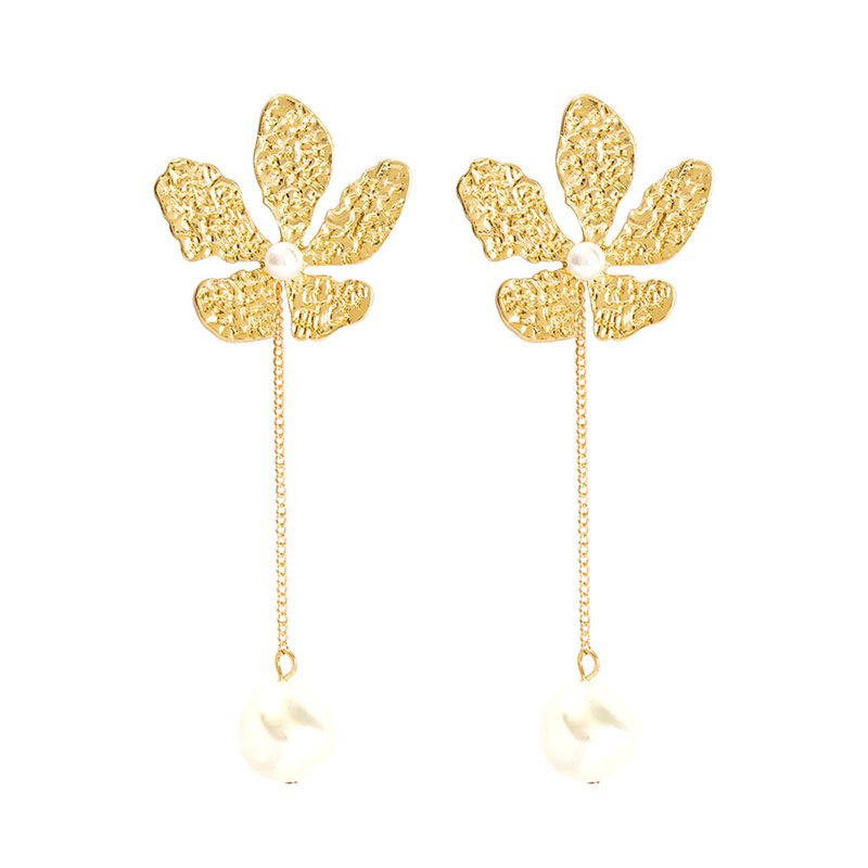 Pearl Inlaid Alloy Korean Gift Earrings