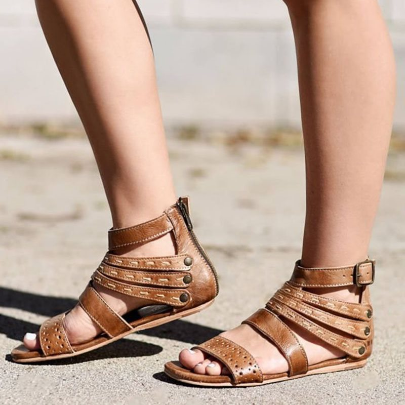 Flat With Heel Covering Open Toe Zipper Thread Casual Sandals
