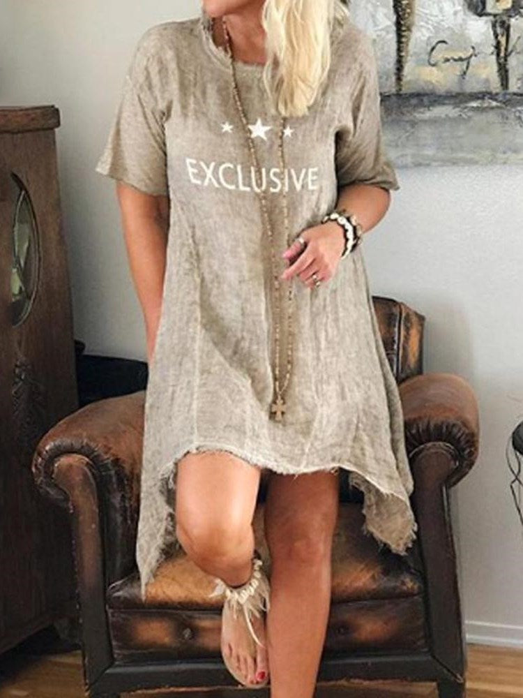 Half Sleeve Knee-Length Print Casual Pullover Dress