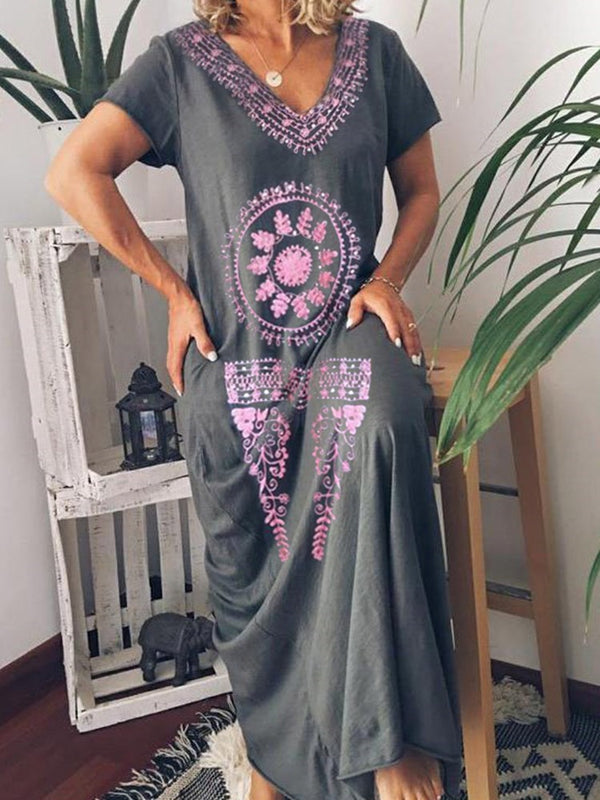 Print Floor-Length V-Neck Geometric Pullover Dress