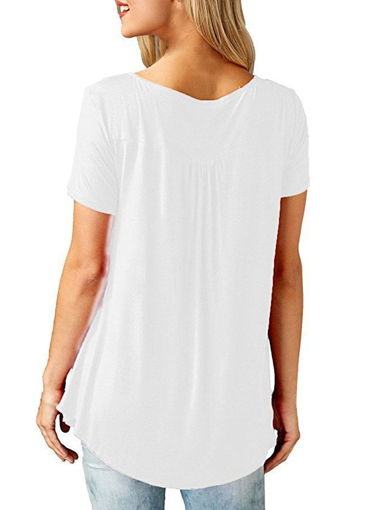 Round Neck Mid-Length Plain Summer Straight T-Shirt