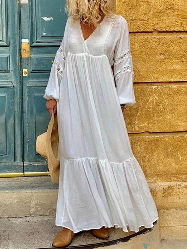 Long Sleeve V-Neck Floor-Length Travel Look High Waist Dress