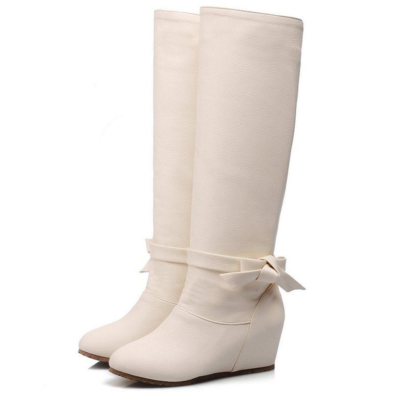 Hidden Elevator Heel Plain Slip-On Round Toe Short Floss Western Boots