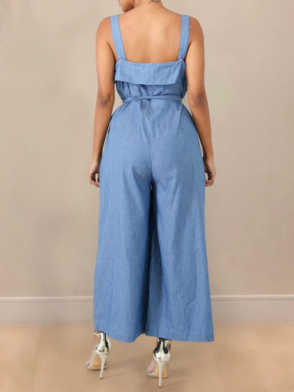 Plain Belt Western Loose Mid Waist Jumpsuit
