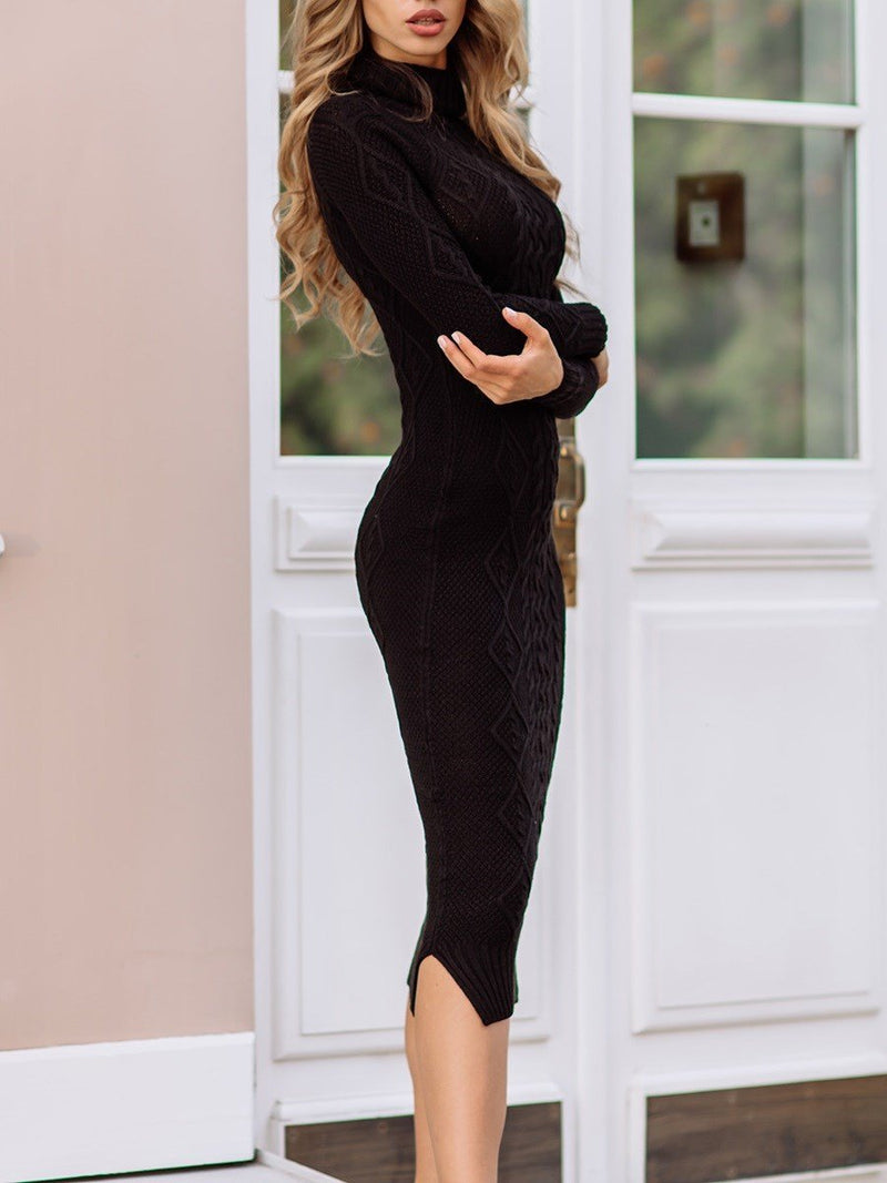 Turtleneck Mid-Calf Long Sleeve Pullover Plain Dress
