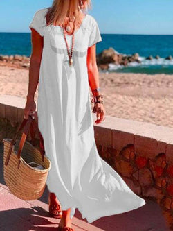 Ankle-Length V-Neck Split Summer Straight Dress