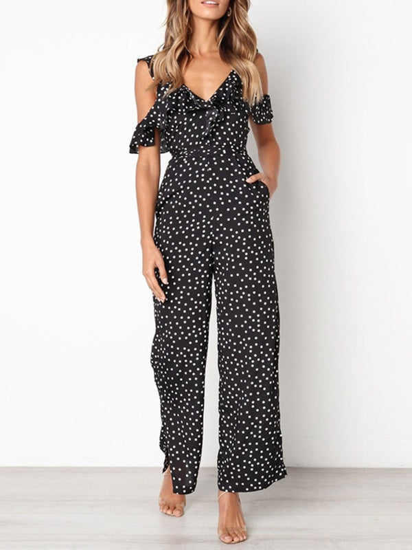 Falbala Polka Dots Fashion Bellbottoms High Waist Jumpsuit