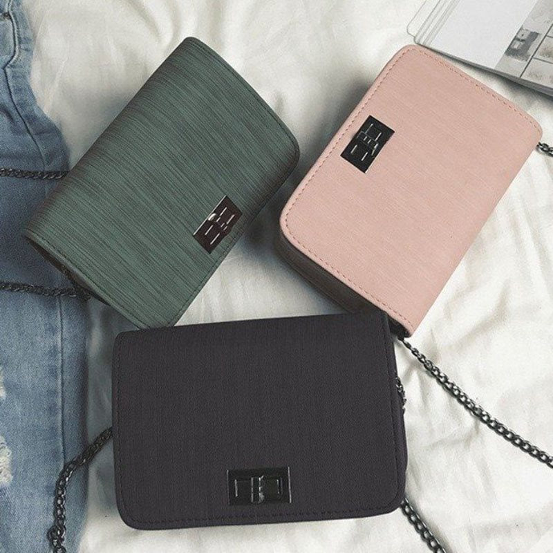 Plain Chain PU Crossbody Bags