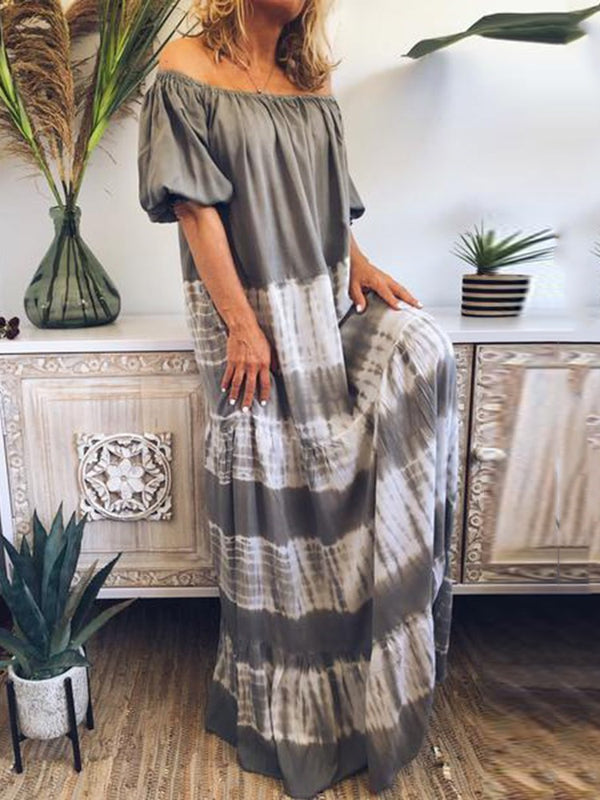 Off Shoulder Half Sleeve Floor-Length Casual Straight Dress