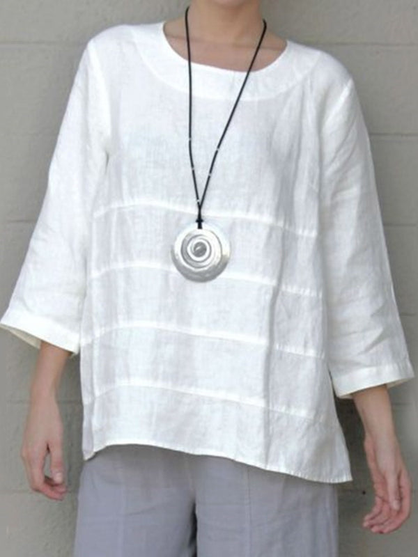Round Neck Three-Quarter Sleeve Mid-Length Blouse