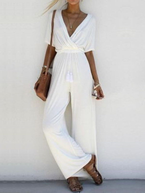 Full Length Plain Western Loose Wide Legs Jumpsuit