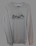 "Premium Faded White Embroidered ""3016 Hands"" Crewneck Jumper"