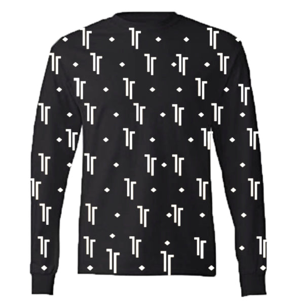 Don't Think Long Sleeved Patterned Tee