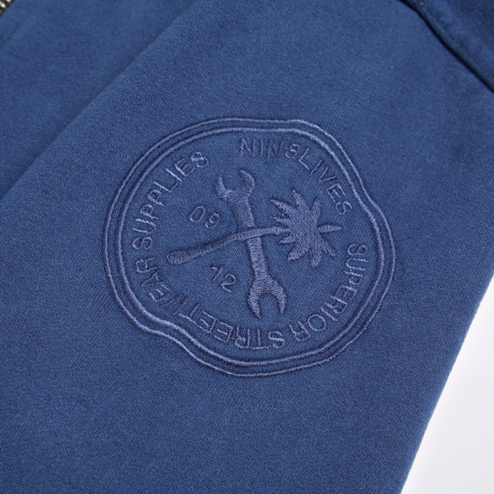 Original Blue Anchor Vintage Print Hooded Top - LA Inspired Premium Zipped Hoodie