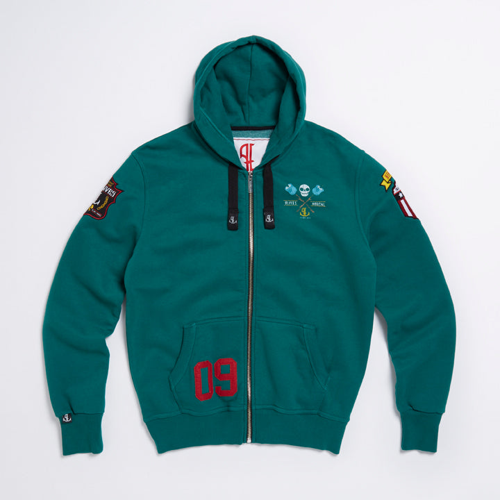 Green Fire Tales Zipped Hoodie - Limited Edition Hoody With Drawstring Hood