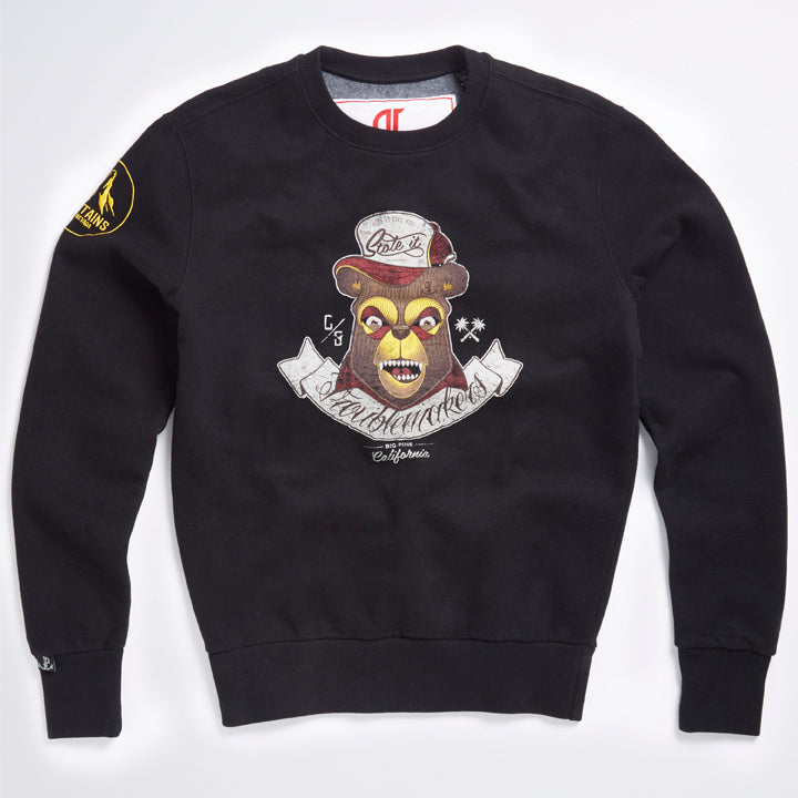 Black Crew Neck Teddy Sweater - LA Inspired Design With Distressed Vintage Print