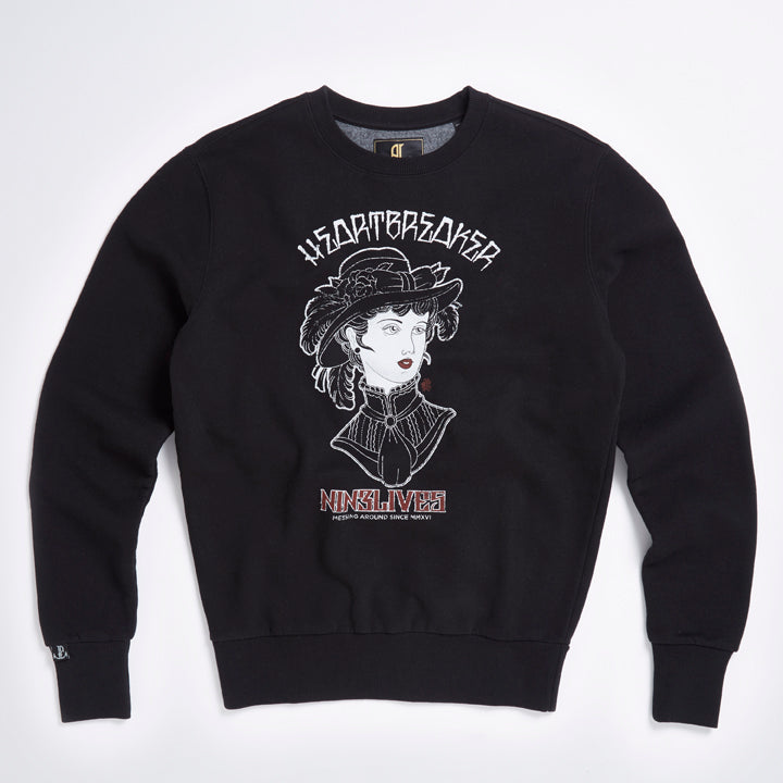 Black Heartbreaker Printed Sweater - LA Inspired Design Crew Neck Jumper